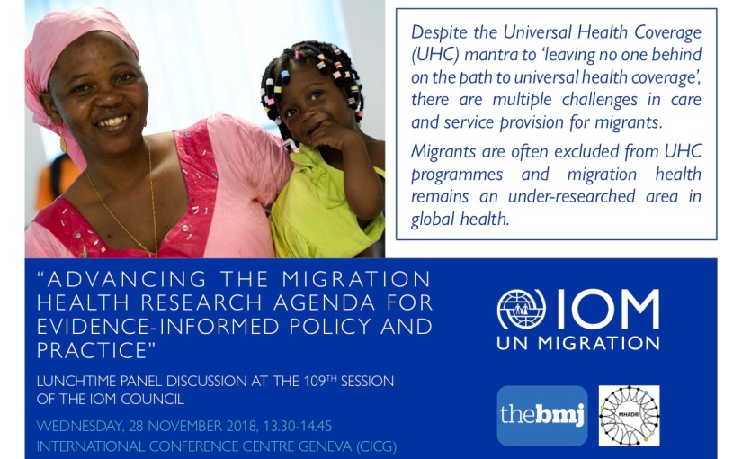[Invite] Lunchtime panel discussion on migration and health at the 109th Session of the IOM Council, Geneva, 28th November,1.30pm