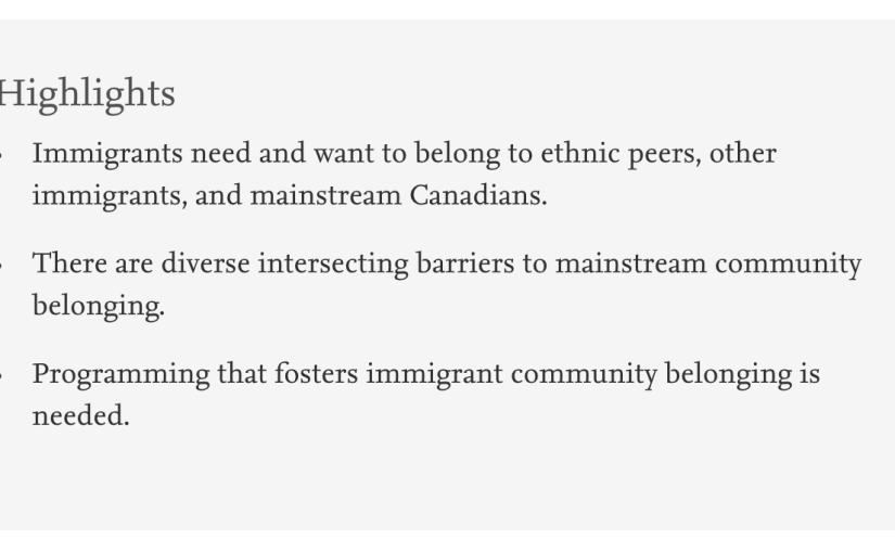 Sense of community belonging among immigrants: perspective of immigrant serviceproviders