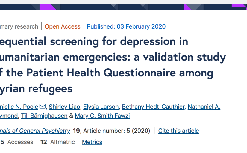 Sequential screening for depression in humanitarian emergencies: a validation study of the Patient Health Questionnaire among Syrianrefugees